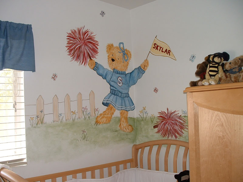 Cheerleader teddy bear mural for Cheerleader wall mural