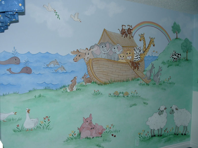 Baby room wall murals by colette baby girl wall murals for Baby boy wall mural
