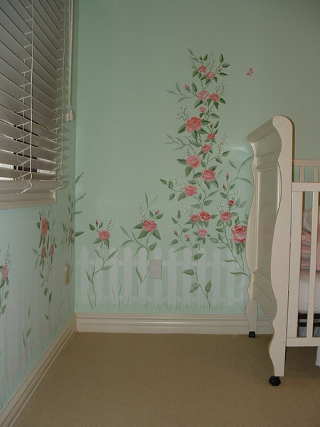 Baby Room Murals: Picket Fence And Rose Mural