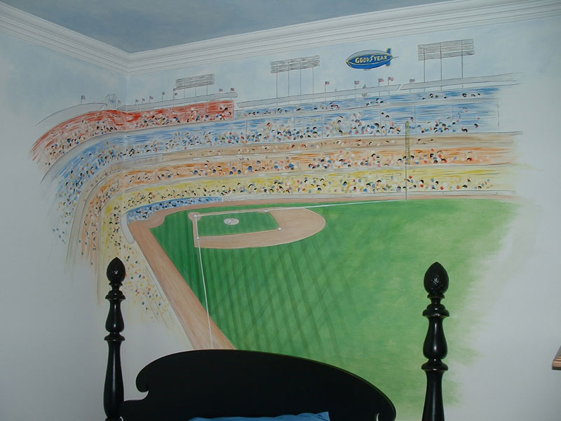 Sports wall murals by colette sports themed rooms for Baseball field wall mural