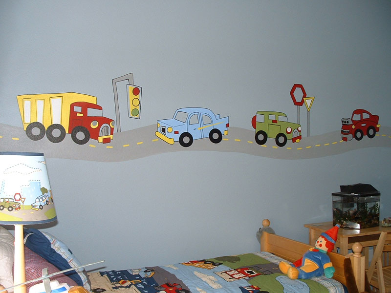 Transportation theme wall sticker decals for boys room for Boys wall mural