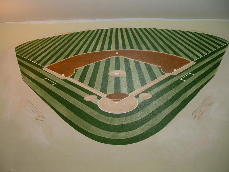 Boys room wall murals by colette wall murals for boys for Baseball field mural