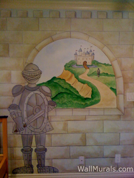 Window wall murals by colette painted window murals for Castle window mural