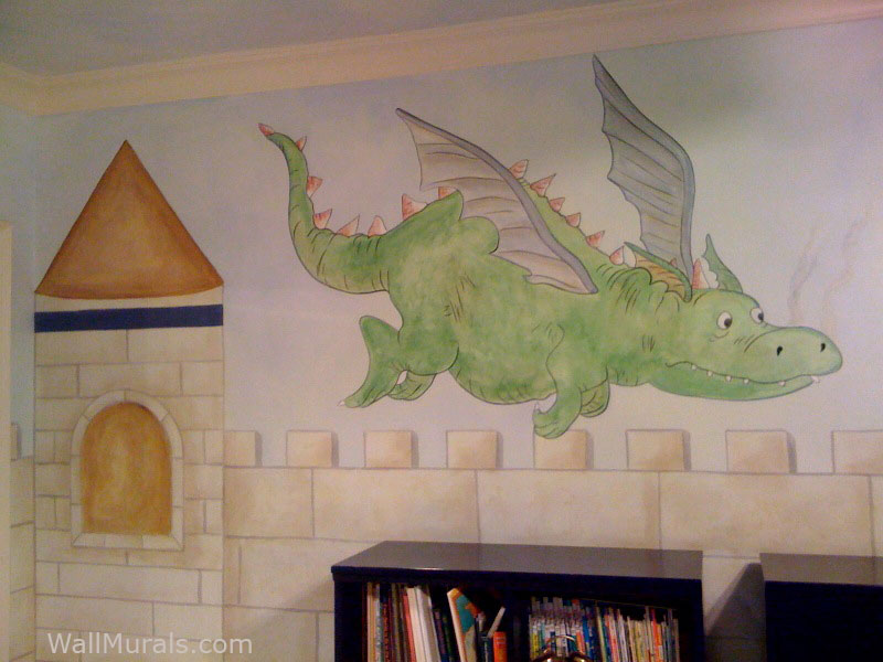Castle wall murals by colette castle murals castle for Dragon mural for wall