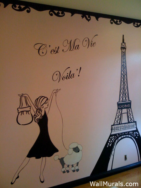 Paris wall mural 2017 grasscloth wallpaper for Girls murals
