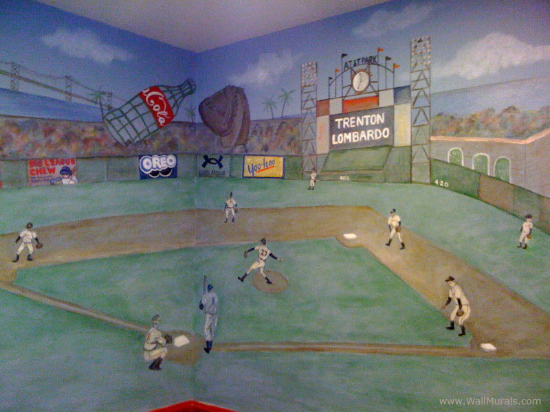 Baseball wall murals the best inspiration for interiors for Baseball field mural
