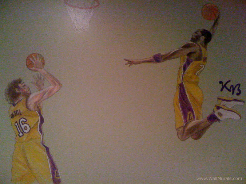Sports wall murals by colette sports themed rooms for Basketball mural