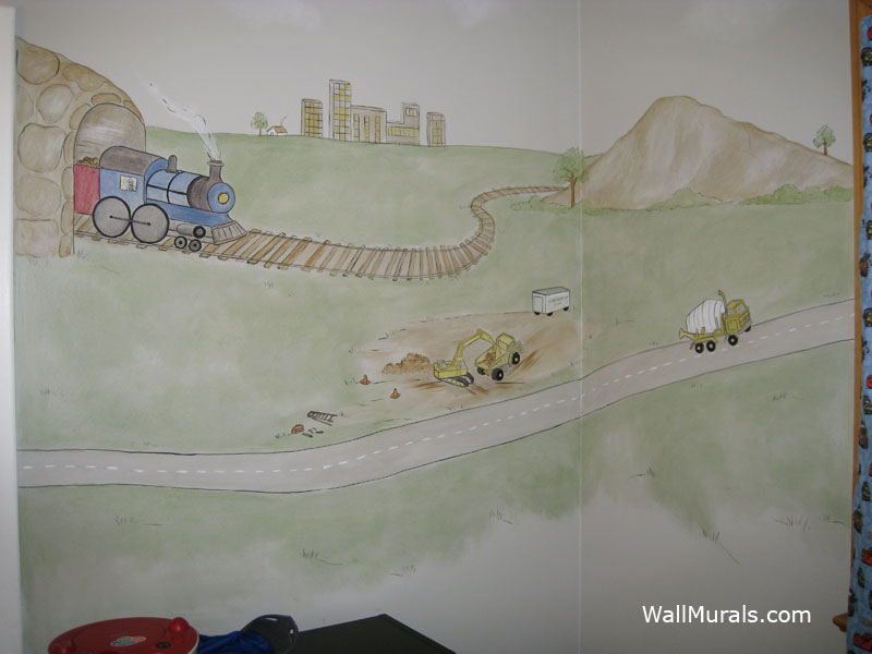 Wall murals by colette transportation theme wall murals for Construction site wall mural