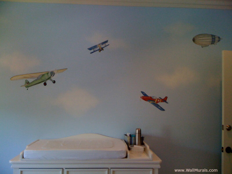 Wall murals by colette transportation theme wall murals for Aeroplane wall mural