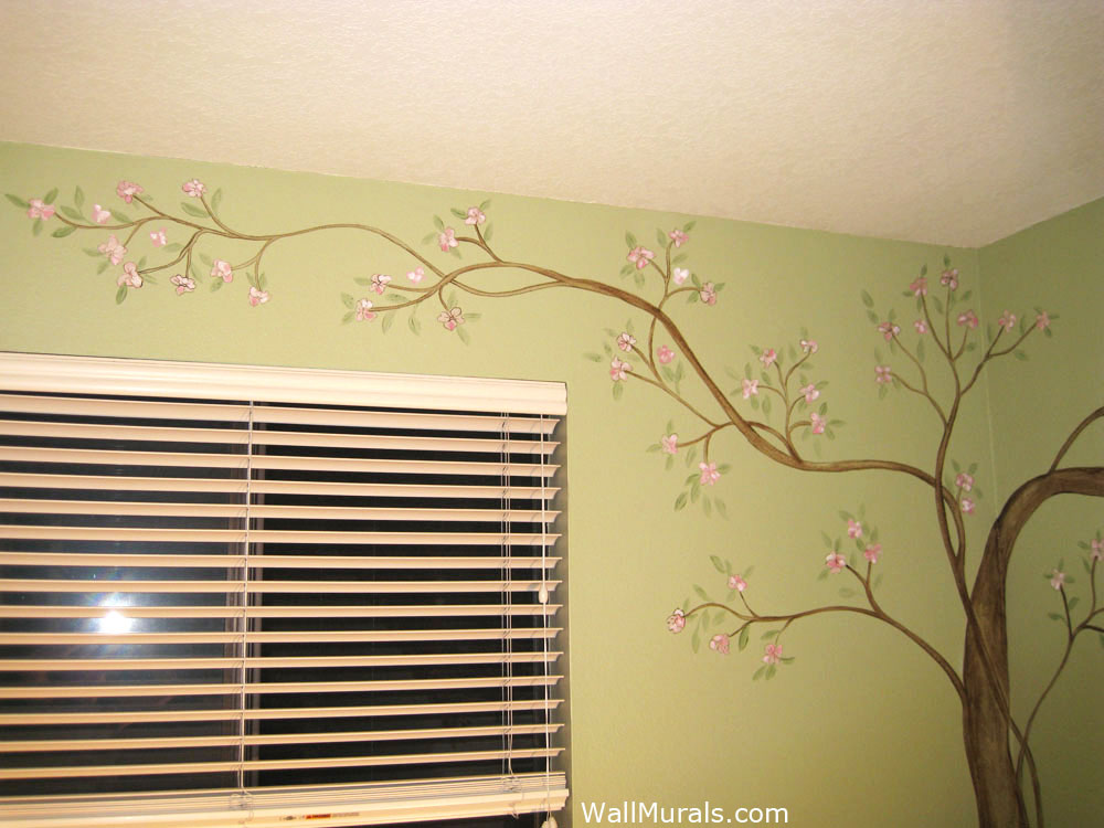 Girls room wall murals girl theme wall murals by colette for Cherry blossom tree mural