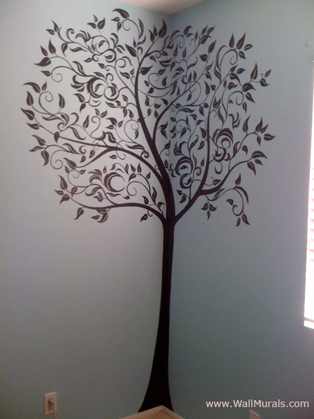 Wall murals for tweens and teens teenager wall murals by for Black tree mural