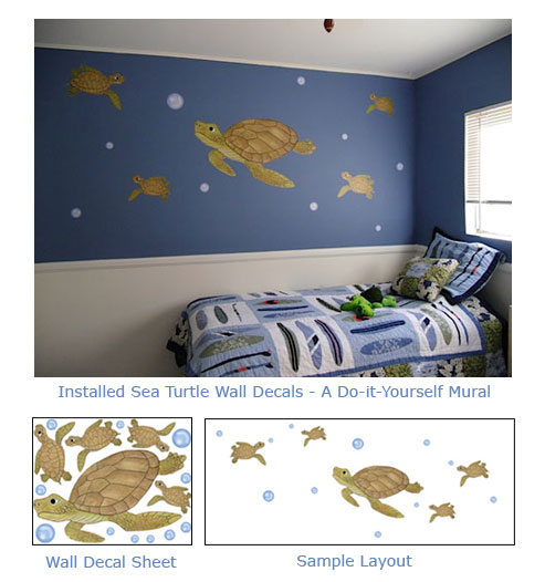 Sea Turtle Wall Art Decals